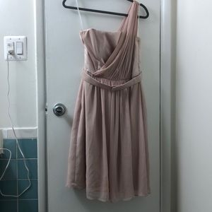 Pale pink one shouldered dress